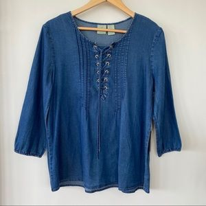 Carribean Joe denim top with lace-up opening - NEW